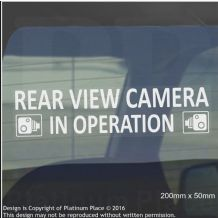 1 x Rear View Camera In Operation Stickers-WINDOW CCTV Signs-Van,Taxi,Car,Cab